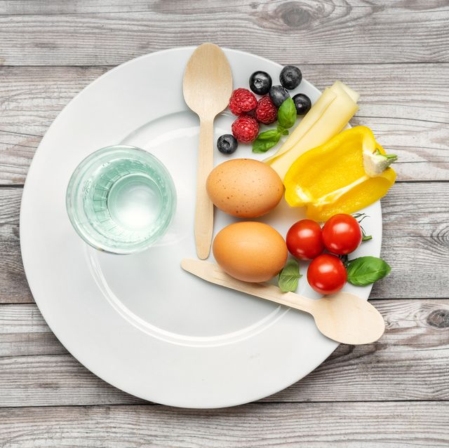 interval fasting diet intermittent fasting concept represented with a plate and products on gray background healthy lifestyle fat loss concept top view