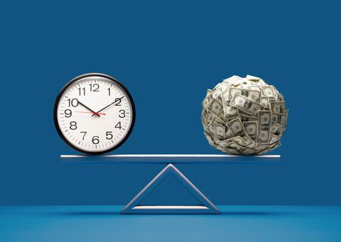 analog clock and ball of us paper currency equally balanced on seesaw weight scale on blue surface and background