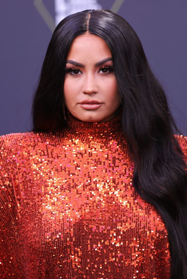 santa monica, california   november 15 2020 e peoples choice awards    in this image released on november 15, demi lovato arrives at the 2020 e peoples choice awards held at the barker hangar in santa monica, california and on broadcast on sunday, november 15, 2020 photo by rich polke entertainmentnbcu photo bank via getty images