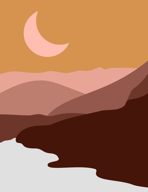 abstract landscape of mountains and rivers with the moon in a minimal trend style vector background in pastel colors for covers, posters, postcards, social media stories boho art prints