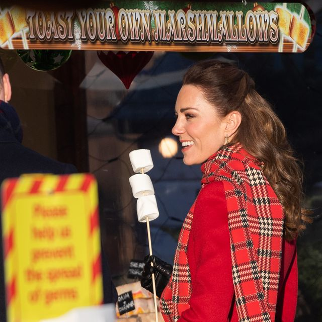 cardiff, wales   december 08 catherine, duchess of cambridge holds with marshmallows during a visit to cardiff castle with prince william, duke of cambridge on december 08, 2020 in cardiff, wales photo by samir husseinwireimage
