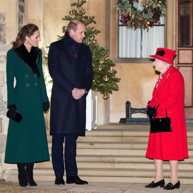 windsor, england   december 08 catherine, duchess of cambridge, prince william, duke of cambridge and queen elizabeth ii wait to thank local volunteers and key workers for the work they are doing during the coronavirus pandemic and over christmas in the quadrangle of windsor castle on december 8, 2020 in windsor, england photo by poolsamir husseinwireimage