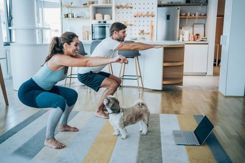 beautiful young couple and their cute pet dog doing workout at home young couple doing exercises while watching workout video young man and young woman in sports wear doing workout at home couple using laptop while doing stretching exercises couple staying in front of laptop and watching online sport lessons couple exercising and watching online fitness live streaming classes