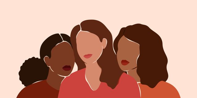 three beautiful women with different skin colors together african, latin and caucasian girls stand side by side sisterhood and females friendship  vector illustration for international womens day