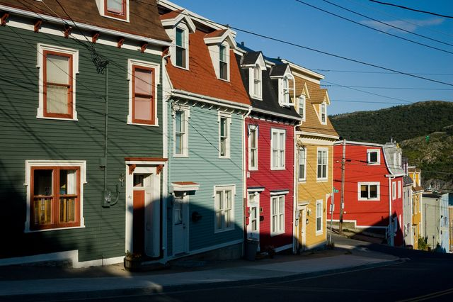 the famous colorful row houses of st johns, newfoundland  labrador, canada