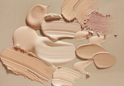 smudged make up gradient texture palette creamy matte concealer corrector cover foundation cc or bb cream powder on white and beige isolated background