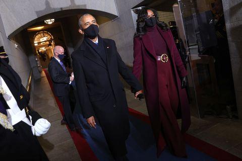 inauguration outfits hidden meanings   michelle obama monochrome purple plum black designer