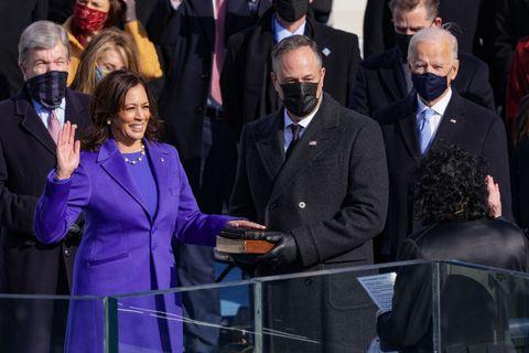 inauguration outfits hidden meanings   kamala harris purple monochrome black designer