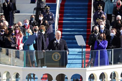 washington, dc   january 20  us president joe biden delivers his inauguration address on the west front of the us capitol on january 20, 2021 in washington, dc  during today's inauguration ceremony joe biden becomes the 46th president of the united states photo by rob carrgetty images