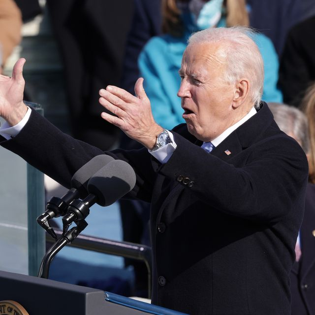 washington, dc   january 20  us president joe biden delivers his inaugural address on the west front of the us capitol on january 20, 2021 in washington, dc  during today's inauguration ceremony joe biden becomes the 46th president of the united states photo by alex wonggetty images