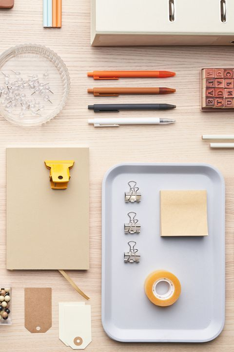 flat lay of assorted modern supplies for education placed in order on table in workplace