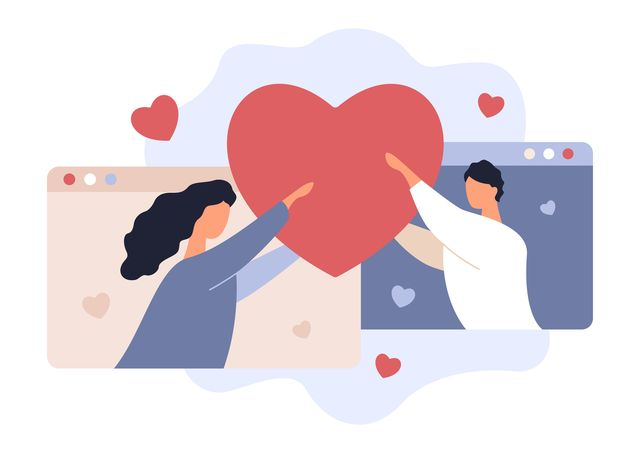 online date love rendezvouz valentines day young man and woman holding heart girlfriend and boyfriend couple, hearts and browsers, vector stock illustration