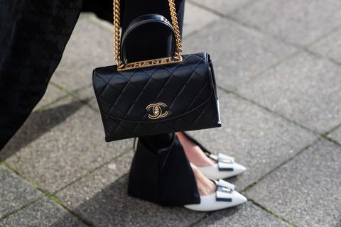 dusseldorf, germany   february 05 editors note image has been digitally enhanced alexandra lapp is seen wearing saint laurent pumps anais 55 with ysl logo in beige via mybudapester, wardrobenyc release 03 leggings in black, chanel patted leather bag in black with printed chanel letters vintage on february 05, 2021 in dusseldorf, germany photo by christian vieriggetty images