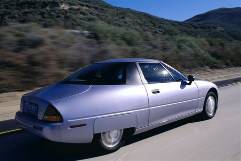 lancaster, california   april 1997  silver saturn ev 1 electric car on the road photo by john b carnettbonnier corp via getty images