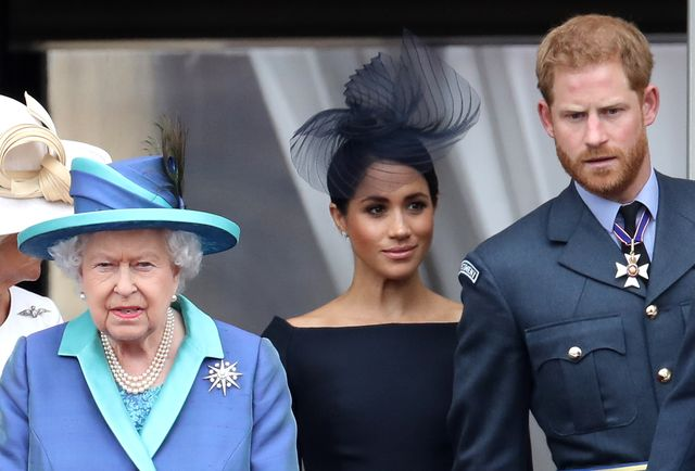 london, england   july 10 queen elizabeth ii, prince harry, duke of sussex and meghan, duchess of sussex on the balcony of buckingham palace as the royal family attend events to mark the centenary of the raf on july 10, 2018 in london, england photo by chris jacksongetty images