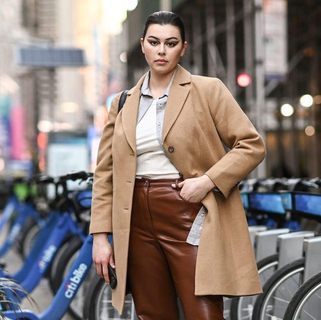 new york, new york   february 25 model lauren chan is seen wearing a tan coat, white shirt, brown pants outside the christian siriano show during new york fashion week fw21 on february 25, 2021 in new york city photo by daniel zuchnikgetty images
