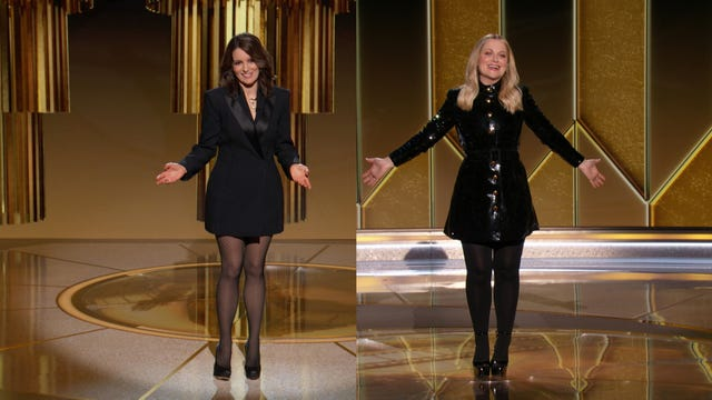 unspecified 78th annual golden globe awards    pictured in this screengrab released on february 28, l r co hosts tina fey and amy poehler speak onstage at the 78th annual golden globe awards broadcast on february 28, 2021     photo by nbcnbcu photo bank via getty images