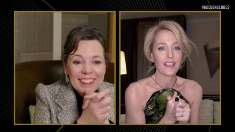 """unspecified 78th annual golden globe awards    pictured in this screengrab released on february 28, l r olivia colman and gillian anderson, winner of best performance by an actress in a supporting role in a series, limited series or motion picture made for television for """"the crown"""", speak during the 78th annual golden globe awards broadcast on february 28, 2021    photo by nbcnbcu photo bank via getty images"""