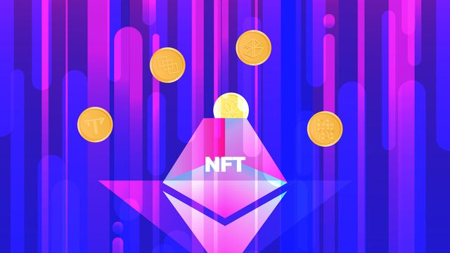 vector illustration banner with ntf coins and volcano nonfungible  unique cryptocurrency bright background horizontal format