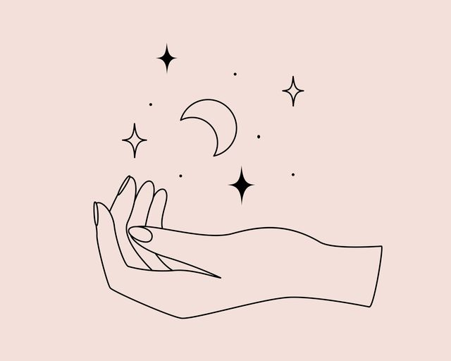 mystical logo with magic symbol of hand, moon and stars in simple style vector illustration for meditation emblem, badge, sticker, print and temporary tattoo