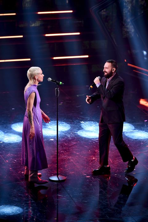 sanremo, italy   march 06  coma cose is seen on stage during at the 71th sanremo music festival 2021 at teatro ariston on march 06, 2021 in sanremo, italy photo by jacopo raule  daniele venturelligetty images