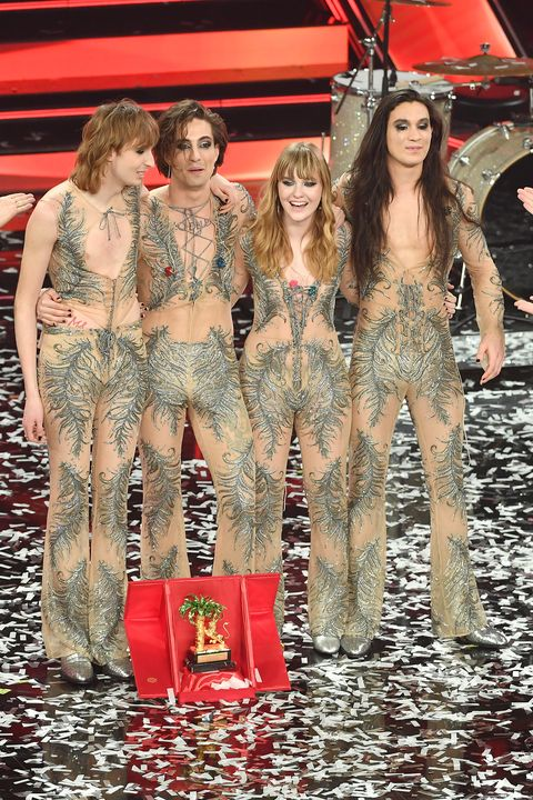 sanremo, italy   march 06  maneskin band celebrates after being awarded with the top prize at the 71th sanremo music festival 2021 at teatro ariston on march 06, 2021 in sanremo, italy photo by jacopo raule  daniele venturelligetty images
