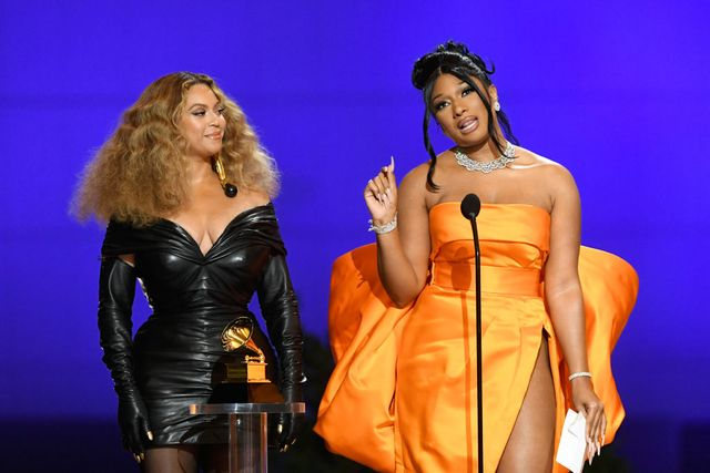 los angeles, california   march 14 l r beyoncé and megan thee stallion accept the best rap performance award for savage onstage during the 63rd annual grammy awards at los angeles convention center on march 14, 2021 in los angeles, california photo by kevin wintergetty images for the recording academy