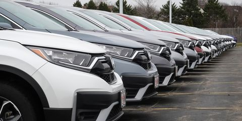 elgin, illinois   march 25 cars sit on the lot at the mcgrath honda dealership on march 25, 2021 in elgin, illinois covid related plant shutdowns over the past year, computer chip shortages, inclement weather, backups at shipping ports and strong demand have combined to cause shortages of new vehicles at dealerships across the country  photo by scott olsongetty images