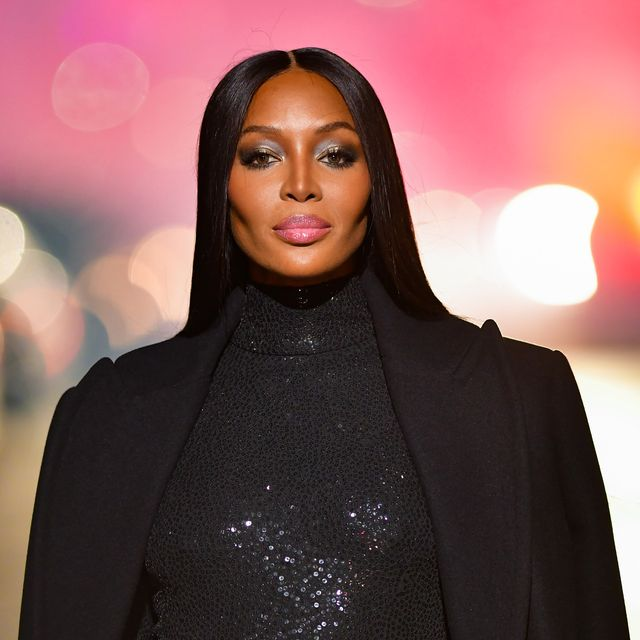 new york, new york   april 08  naomi campbell walks along 46th street during the michael kors fashion show in times square on april 08, 2021 in new york city photo by james devaneygc images