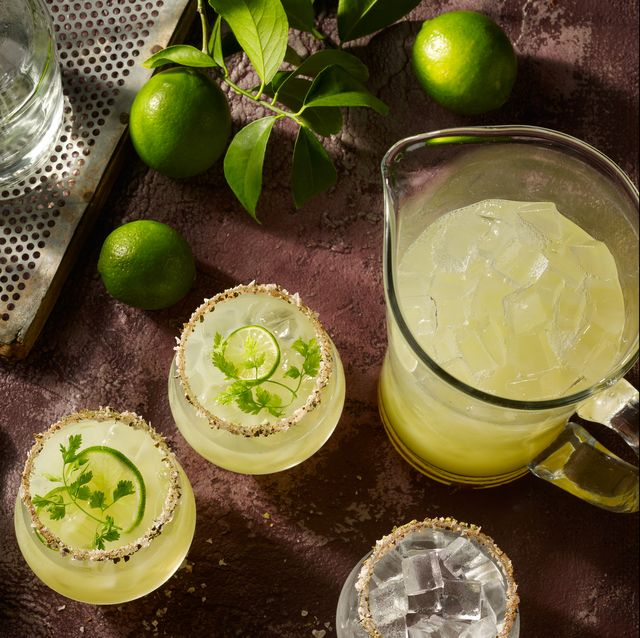 margaritas being prepared from an overhead view