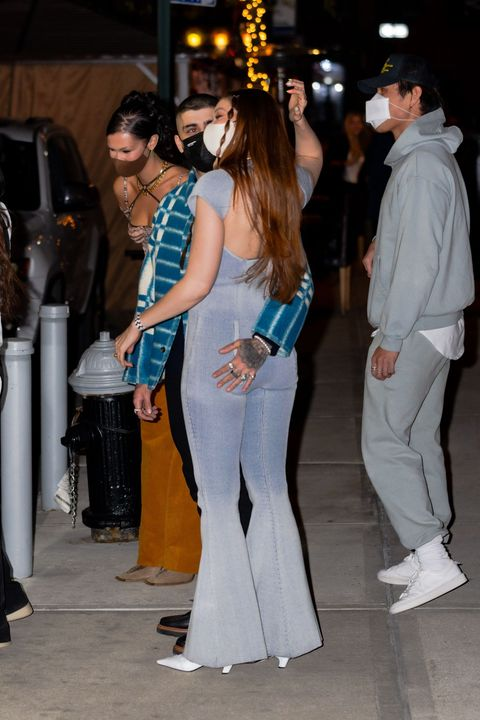 new york, new york   april 23 gigi hadid and zayn malik are seen on her birthday in noho on april 23, 2021 in new york city photo by gothamgc images