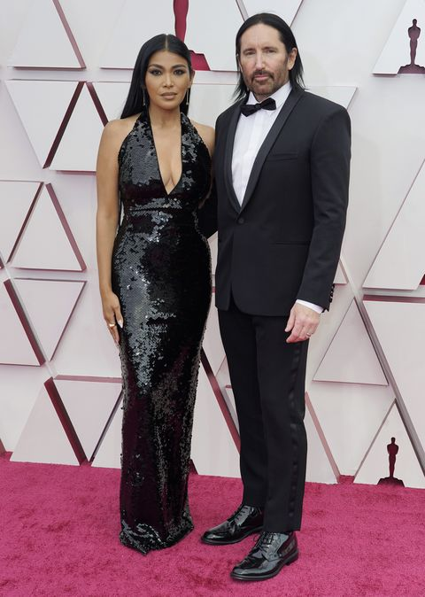 los angeles, california – april 25 l r mariqueen maandig reznor and trent reznor attends the 93rd annual academy awards at union station on april 25, 2021 in los angeles, california photo by chris pizzelo poolgetty images