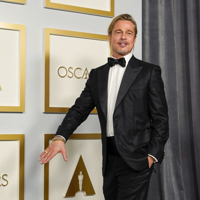 los angeles, california   april 25 brad pitt poses in the press room at the oscars on sunday, april 25, 2021, at union station in los angeles photo by chris pizzello poolgetty images
