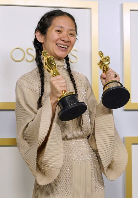 los angeles, california   april 25 directorproducer chloe zhao, winner of best directing and best picture for nomadland, poses in the press room at the oscars on sunday, april 25, 2021, at union station in los angeles photo by chris pizzello poolgetty images