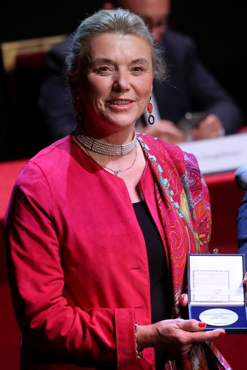 rome, italy   may 07 secretary general of the ministry of foreign affairs elisabetta belloni l receives the guido carli prize at auditorium parco della musica on may 07, 2021 in rome, italy photo by franco origliagetty images