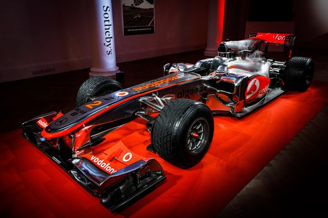 london, england   may 18  the first lewis hamilton formula 1 race winning car to come to the market goes on view at sotheby's on may 18, 2021 in london, england the live auction takes place at the 2021 british grand prix at silverstone on saturday 17 july winner of the 2010 turkish grand prix, the mclaren mercedes mp4 25a is offered by formula 1 and rm sotheby's, estimate $5 7million  photo by tristan fewingsgetty images for sotheby's
