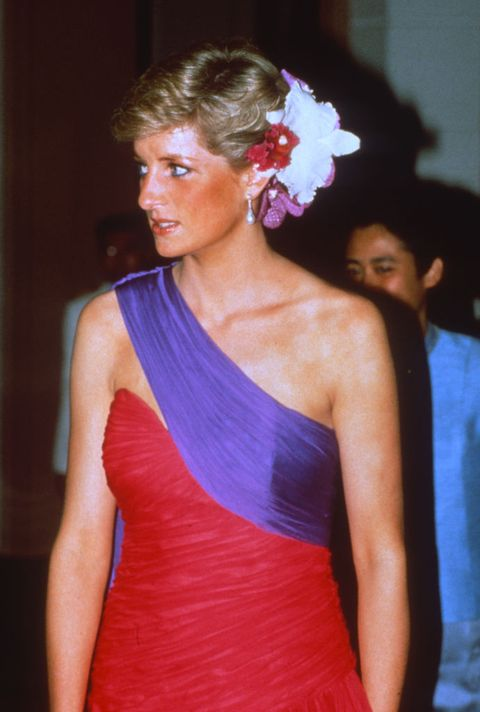 bangkok, thailand   february 04 diana, princess of wales, wearing a red and purple chiffon evening dress designed by catherine walker with silk flowers in her hair, attends a dinner on february 04, 1988 in bangkok, thailand photo by anwar husseingetty images