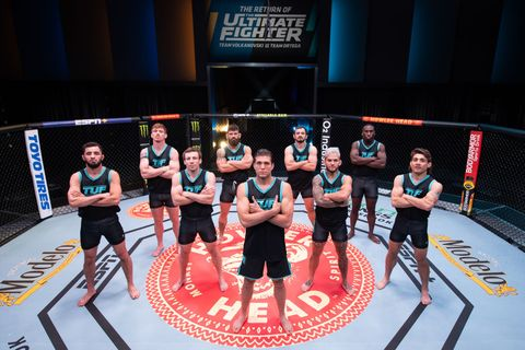 las vegas, nevada   april 21  team ortega poses for a group portrait during the filming of the return of the ultimate fighter on april 21, 2021 in las vegas, nevada photo by jeff bottarizuffa llc