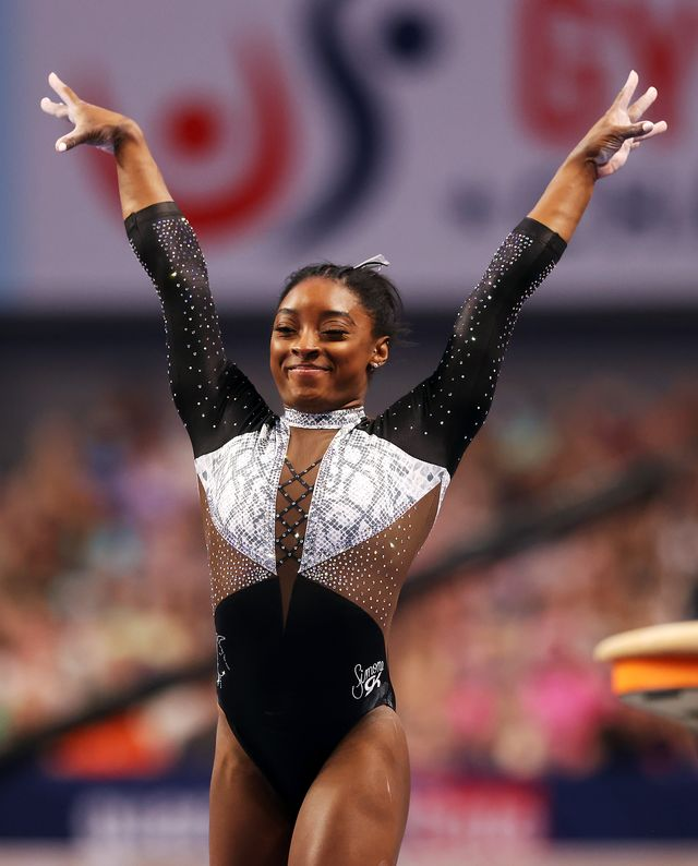 fort worth, texas   june 06  simone biles reacts after compteting on the vault during the senior womens competition of the us gymnastics championships at dickies arena on june 06, 2021 in fort worth, texas photo by jamie squiregetty images