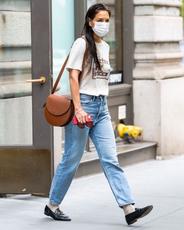 new york, new york   june 12 katie holmes is seen in chelsea on june 12, 2021 in new york city photo by gothamgc images