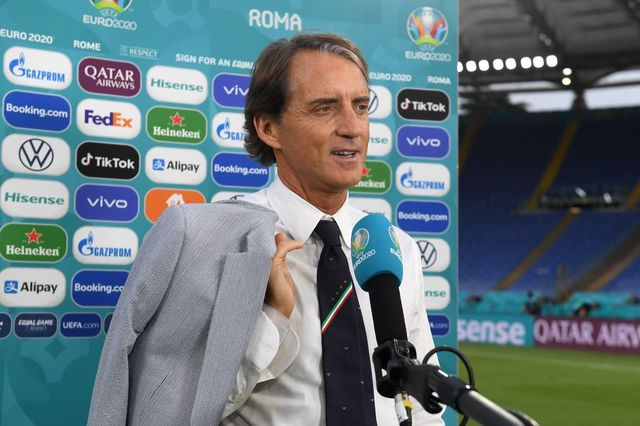 rome, italy   june 20 roberto mancini, head coach of italy speaks to the media after the uefa euro 2020 championship group a match between italy and wales at olimpico stadium on june 20, 2021 in rome, italy photo by chris ricco   uefauefa via getty images