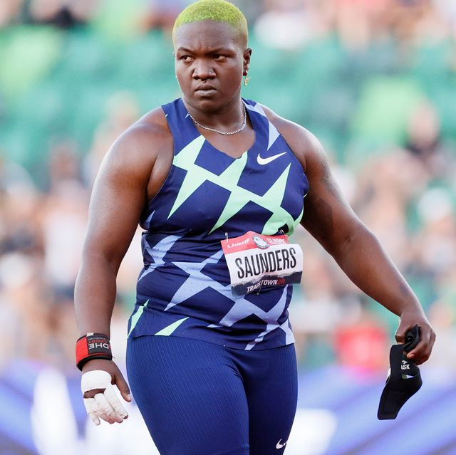 eugene, oregon   june 24 raven saunders reacts as she competes in the womens shot put finals on day seven of the 2020 us olympic track  field team trials at hayward field on june 24, 2021 in eugene, oregon photo by steph chambersgetty images