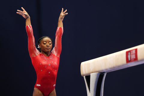st louis, missouri   june 27 simone biles competes on the balance beam during the womens competition of the 2021 us gymnastics olympic trials at america's center on june 27, 2021 in st louis, missouri photo by carmen mandatogetty images