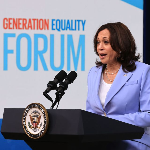 washington, dc   june 30 us vice president kamala harris delivers remarks via video link to the generation equality forum in the south court auditorium of the eisenhower executive office building on june 30, 2021 in washington, dc created as part of the united nations beijing platform for action, the forum demands equal pay, equal sharing of unpaid care and domestic work, an end to sexual harassment and all forms of violence against women and girls, health care services that respond to their needs, and their equal participation in political life and decision making in all areas of life photo by chip somodevillagetty images