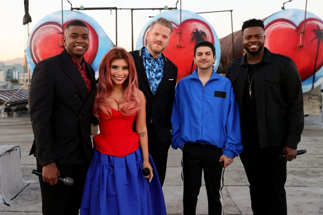 los angeles, california   june 14 in this image released on july 02 matt sallee, kirstin maldonado, scott hoying, mitch grassi and kevin olusola of three time grammy award winning and multi platinum selling artists pentatonix performs from los angeles for a capitol fourth which airs on sunday, july 4th on pbs photo by rich furygetty images for capital concerts