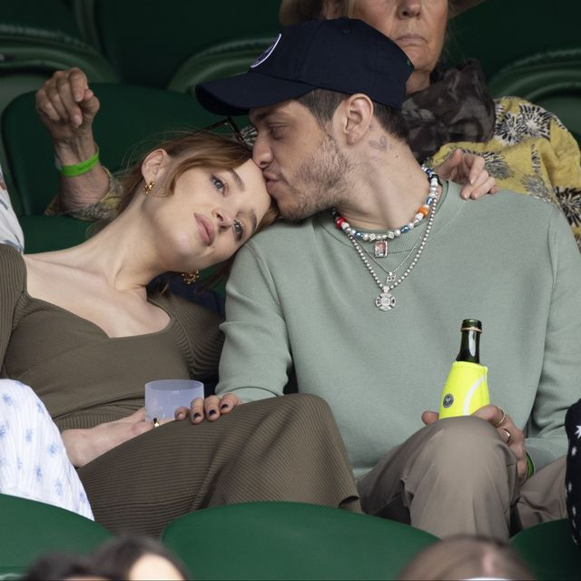 london, england   july 03 phoebe dynevor and pete davidson hosted by lanson attend day 6 of the wimbledon tennis championships at the all england lawn tennis and croquet club on july 03, 2021 in london, england photo by karwai tangwireimage