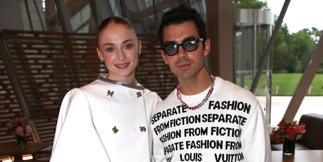 paris, france   july 05 sophie turner and her husband joe jonas attend louis vuitton parfum hosts dinner at fondation louis vuitton on july 05, 2021 in paris, france photo by bertrand rindoff petroffgetty images for louis vuitton