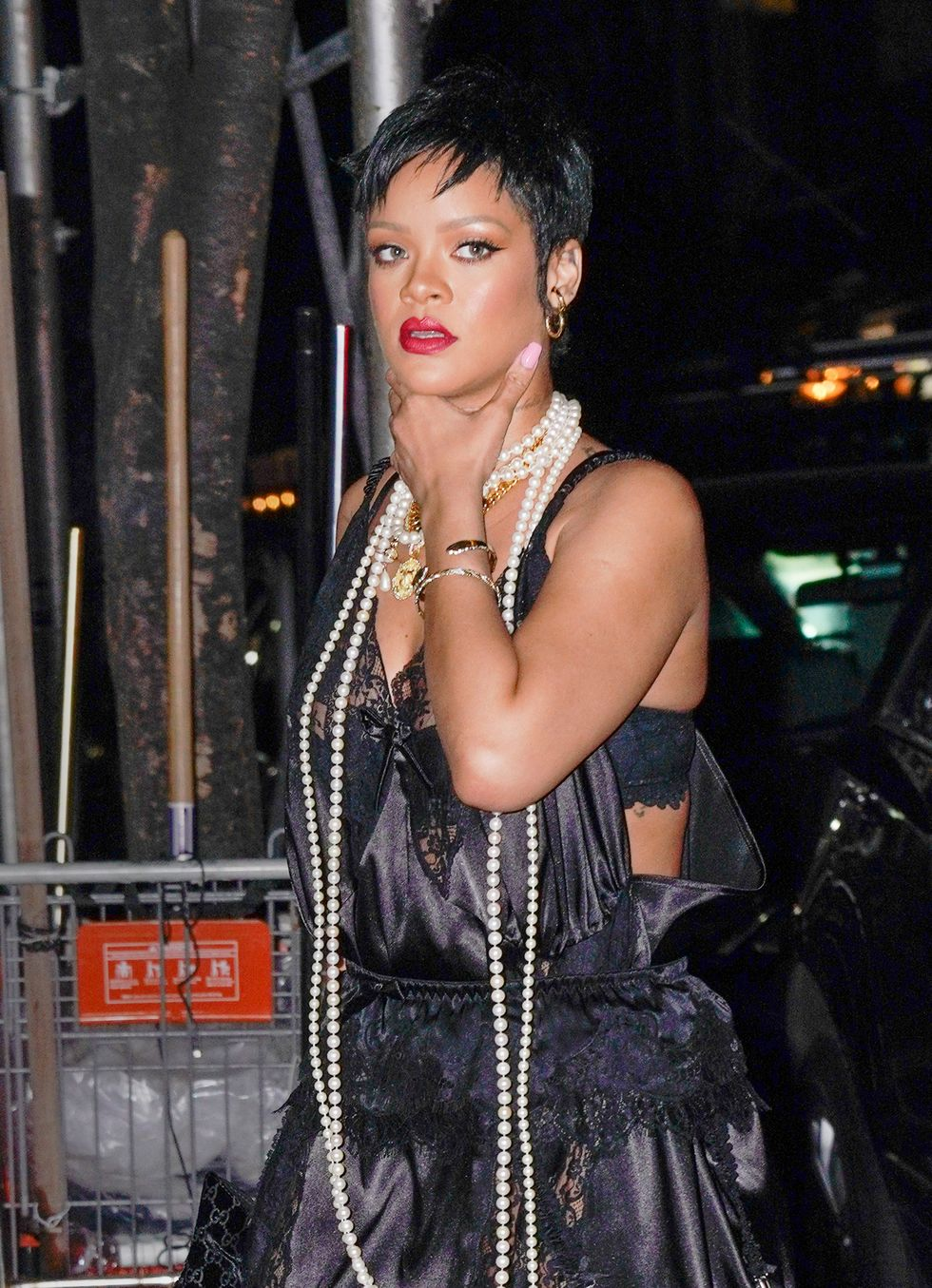 Rihanna Went Out in Lingerie, Pairing a Black Lace Teddy With Pearls at Carbone