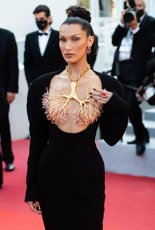 Bella Hadid Stuns in a Dramatic Schiaparelli Gown at Cannes Premiere