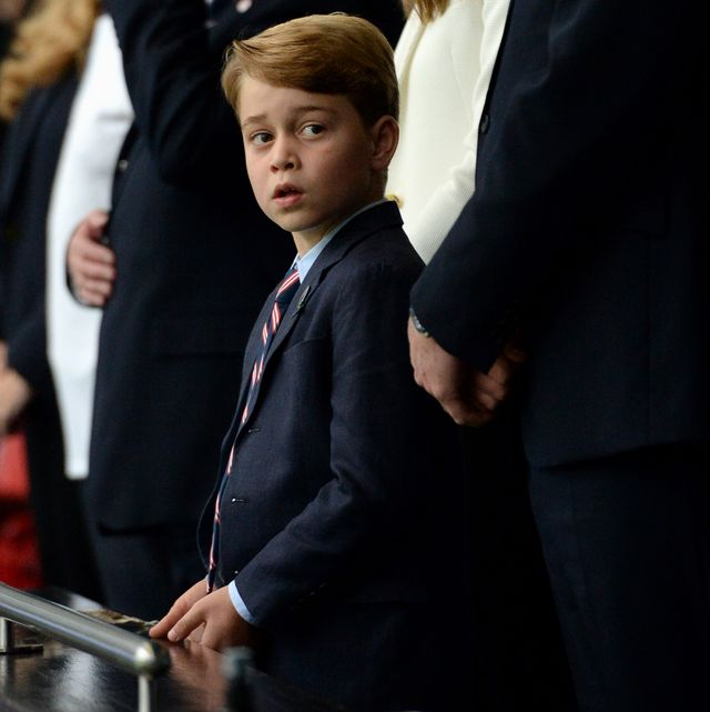 london, england   july 11 prince george of cambridge, catherine, duchess of cambridge, and prince william, duke of cambridge and president of the football association fa are seen in the stands prior to the uefa euro 2020 championship final between italy and england at wembley stadium on july 11, 2021 in london, england photo by eamonn mccormack   uefauefa via getty images